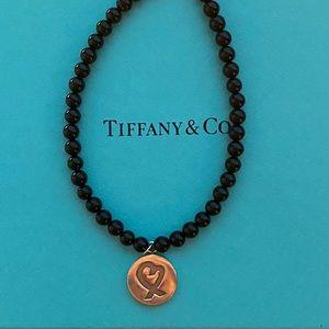 Tiffany Black Onyx Loving Heart Bracelet